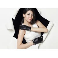China Crystal Bowknot Ladies Touch Screen Leather Gloves With Black Sheep Lamb Leather on sale