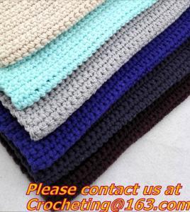 Best 100% handmade Crochet Blanket colorful stripe knitted baby blanket cover knit throw blanke wholesale