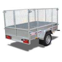 China Galvanised 8x4 Car Tandem Box Trailer with Cage on sale