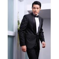 China Custom Wool / Polyester Black Men's Wedding Suit Slim Fit Tuxedo with Satin Lapel on sale