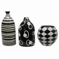 Best S/3 Vase with Black/White Pattern in 3 Various Shapes, Customized Designs are Welcome wholesale