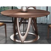 Best Nordic style Living room Furniture Walnut Wooden Circular Dining table in Special design Legs and Stainless steel plate wholesale