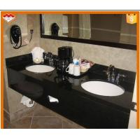 China Rectangle Natural Stone Countertops , Black Galaxy Granite Countertop 120-200cm Length on sale