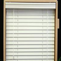 Cheap 64mm pvc foamwood venetian blinds with steel high headrail and pvc foamwood bottomrail for sale