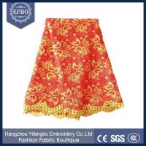 China Nigerian wedding embroidery lace fabrics / latest design new lace fabric F50286 on sale