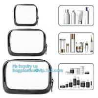 China cusotm logo rope handle clear pvc bag with zipper, handle transparent cosmetic bag, Ziplock Make Up Travel Bag, Organize on sale