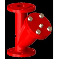China Red Ductile Iron Y Strainer With SS304 Screen Filter And Plug , Drain Hole DN 50 on sale