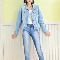 Best Blue Washed Ripped Ladies Fitted Denim Jacket With Pearls Slim Fit Style wholesale