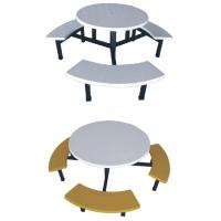 China fiberglass or FRP round dining table with stools on sale