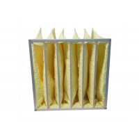 Best Yellow Water Resistant MERV14 Pocket Air Filters / Bag Air Filter For HVAC Systems wholesale