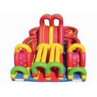 China Colrful Giant Combo Inflatable Fun City With Slide And Obstacle Course on sale