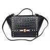 China Ladies Black Calf / Crocodile Leather Handbags with Pyramid Studs wholesale