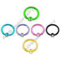 China Ear Crystal Anodized Colorful Ball Closure Ring / BCR Body Jewelry Anodized Titanium on sale