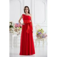 Best Gorgeous One Shoulder Red Chiffon Floor Length Evening Dress Party Gowns Bow wholesale