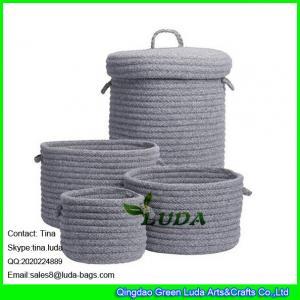 LUDA home decoration basket grey fashion cotton sundries sotrage basket with lid