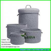 Cheap LUDA home decoration basket grey fashion cotton sundries sotrage basket with lid for sale