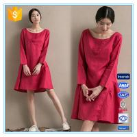 China Fashion red linen ladies winter one piece dress of large size on sale