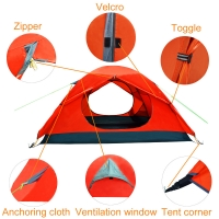 China Red Elastic Rope 3 Person 210x120cm Outdoor Camping Tent on sale