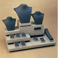 Best Cream Black Combination Jewelry Display Stands Set MDF with leatherette wholesale