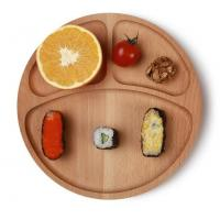 Best Round wooden charger plate with 3 dividers made in Beech wood, food grade oiled wholesale