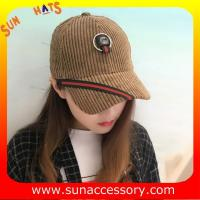 Best QF17046 Sun Accessory customized corduroy baseball cap, embroidered logo on the cap wholesale