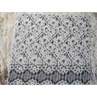 China Eyelash Corded Lace Fabric White Floral / Nylon Rayon Heavy Lace Material on sale