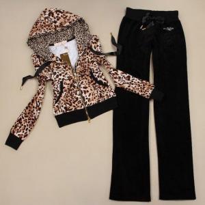 Best Luxury Womens Leopard Zip Hoodie Velvet Tracksuit wholesale