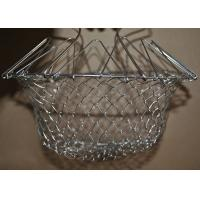 China Collapsible Deep Fryer Stainless Steel Mesh Basket , Wire Mesh Fry Basket on sale