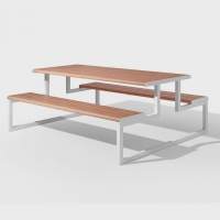 China Powder Coated L2000*W1540*H760mm Metal And Wood Garden Table on sale