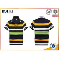 Best 200 Grams 100% Cotton Stripes Print Style Customized Embroidered Polo Shirts For Mens wholesale
