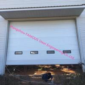 Best Full Vertical Lift Door Motorized Industrial Garage Doors With Transparent Windows And Pedestrian Access wholesale