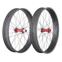 Best 26 Inch Carbon Fat Wheels 650C 90mm 20mm Double Wall Bike Novatece Hub 32H wholesale