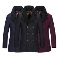 China Regular Length Mens Wool Coat With Fur Collar , Mens Double Breasted Trench Coat on sale