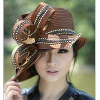 China Winter Womens Satin Church Hats with Feathers and Diamond Casing on sale