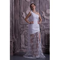 Best Chic One Shoulder Mermaid Lace Chiffon White Long Evening Party Gowns With Sash wholesale