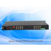4mp 16 port AHD to fiber converter with rs485/422/232 ptz data in 1U rack mount chassis for CCTV surveillance system