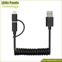 China Factory Price 2in1 USB Male to Micro USB Spiral Cable for Phone on sale