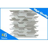 China Lined Polished Beige & Athens Wooden Grey Marble Kitchen Bath Mosaic Wall Tile Sheet on sale