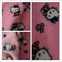 Best 100% Polyester Hello Kitty Printed Coral Fleece Fabric wholesale