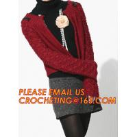 Best Red Long Womens Cardigan, Cable Knitting Lady Cashmere Pullover Knitted Sweater for Women wholesale