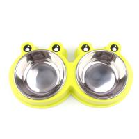 Best Double Bowls Pet Food Feeder Cute Modeling Frog Shape Easy Cleaning wholesale