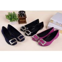 Best Hot sales 2014 Genuine leather office lady fashion shoes with rhinestone buckle wholesale