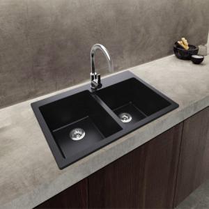 Best Stain Resistant Black Double Bowl Flush Mount Composite Granite Kitchen Sink wholesale