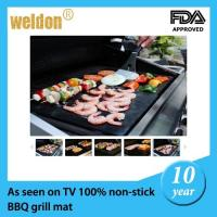 China Fire retardant resuable BBQ grill mats / outdoor bbq grills with Teflon fiberglass on sale