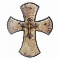 Best Stylish Resin Wall Cross with Decal and Beads wholesale