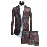 Best Dk Red Printed Suits For Mens Breathable Tuxedo Formal Adults Two Buttons wholesale