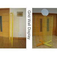China Four Way Metal Wire Retail Display Racks , X Shape Wire Grid Display Stands on sale