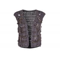 Best Crochet Knitting Grey Womens Sweater Vest , Sleeveless Womens Fur Vest Short Style wholesale