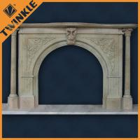 China Natural Marble Pillar Stone Fireplace Surround , Grey And Hand-Carved on sale