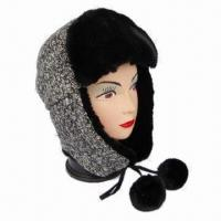 Women's Fashionable Winter Cap/Avaitor with Fake fur Front and Pompoms on the Strap